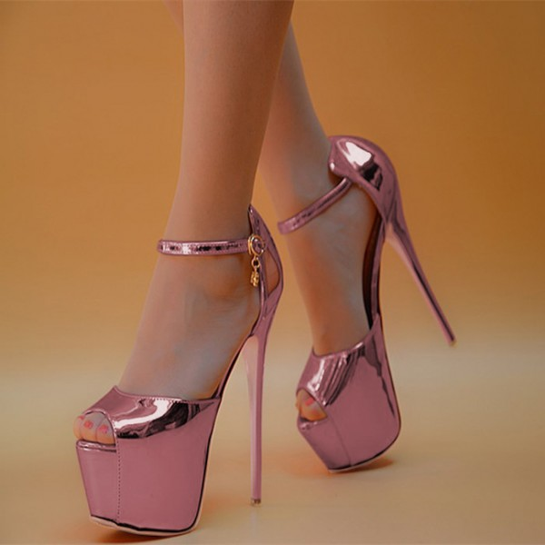 32838ce1e2c Women s Pink Stripper Heels Super Stiletto Heel Ankle Strap Sandals image  ...