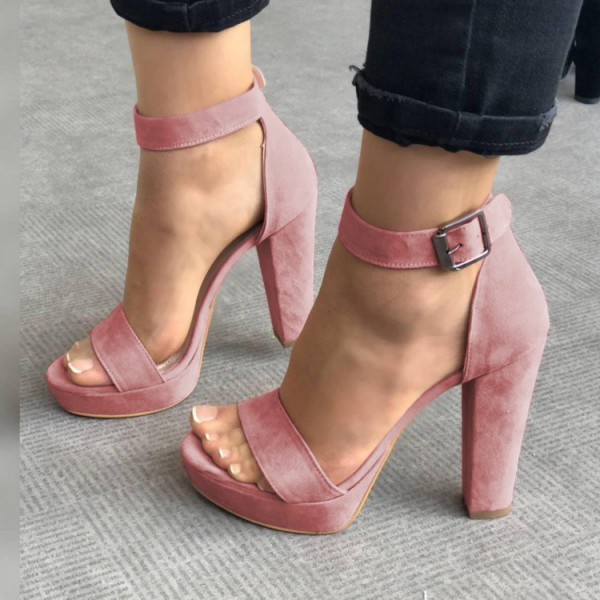 Heels For Women's Ankle Pink Chunky Strap Platform Suede Sandals wk8n0POX