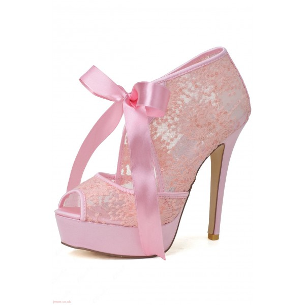 bc734f514cc2 Women s Pink Wedding Shoes Lace Peep Toe Heels Pumps Embroidery shoes image  ...