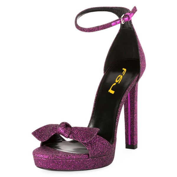 Women's Purple Glitter Shoes Ankle Strap Stiletto Heel Sandals image 1