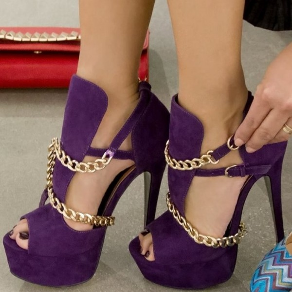 Women's Purple Gold Chains Platform Sandals Peep Toe Heels Pumps  image 1