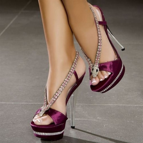 Burgundy Rhinestone Heels Prom Shoes Satin Platform Sandals for Party image 1