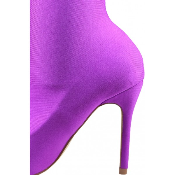 Women's Purple Stiletto Boots Fashion Elastic Pointy Toe Ankle Boots  image 3