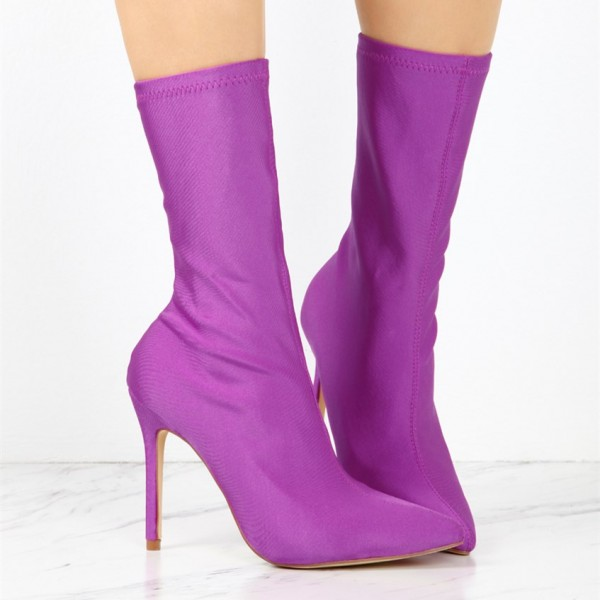 Women's Purple Stiletto Boots Fashion Elastic Pointy Toe Ankle Boots  image 2