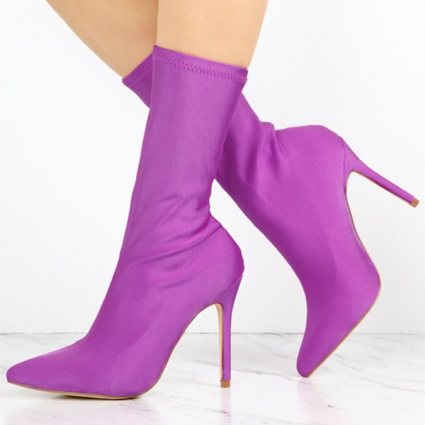 Women's Purple Stiletto Boots Fashion Elastic Pointy Toe Ankle Boots  image 1