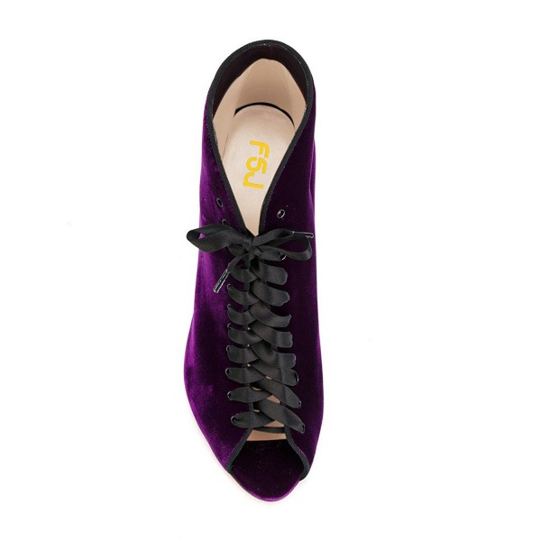 Purple Ankle Booties Velvet Peep Toe Lace up Stiletto Heel Short Boots image 2