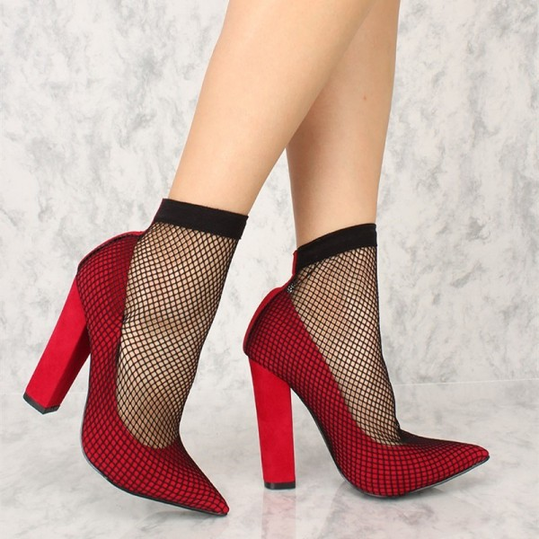 Red Chunky Heels Pointy Toe Sexy Mesh Pumps US Size 3-15 image 3