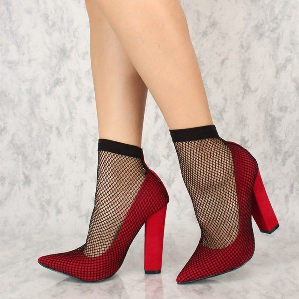 Red Chunky Heels Pointy Toe Sexy Mesh Pumps US Size 3-15 image 1