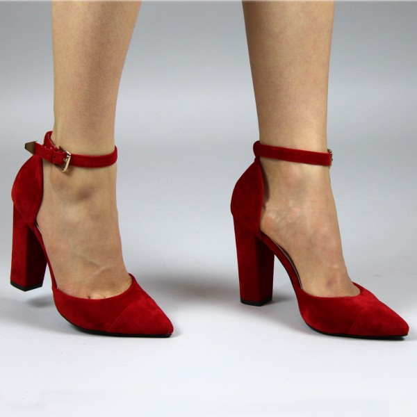 Women's Red Ankle Strap Heels Suede Pointy Toe Chunky Heel Pumps image 2