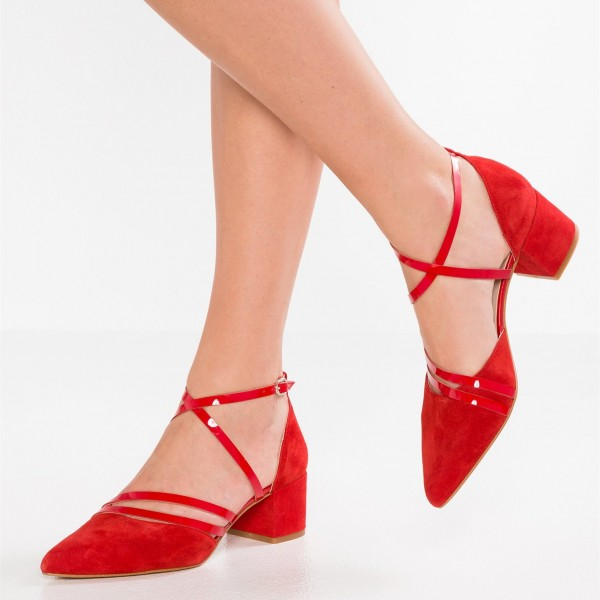 Women's Red Cross Over Chunky Heels Pointy Toe Vintage Shoes image 1