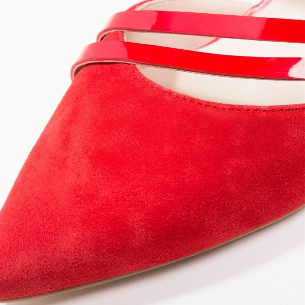 Women's Red Cross Over Chunky Heels Pointy Toe Vintage Shoes image 3
