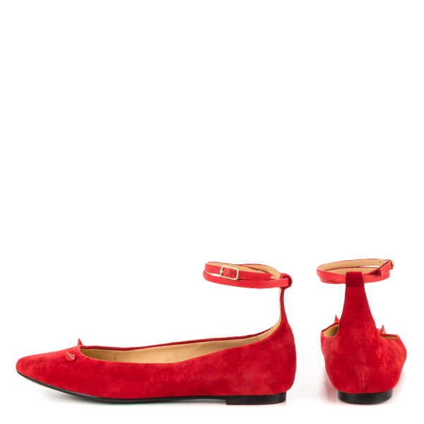Red Suede Shoes Ankle Strap Little Demon Comfortable Flats image 2