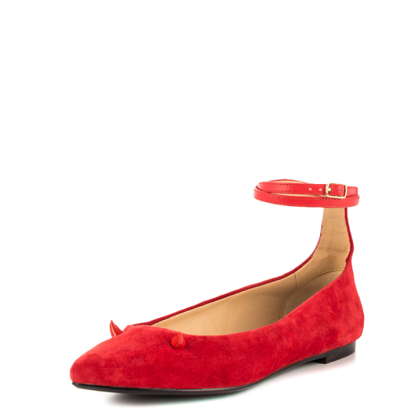 Red Suede Shoes Ankle Strap Little Demon Comfortable Flats image 3