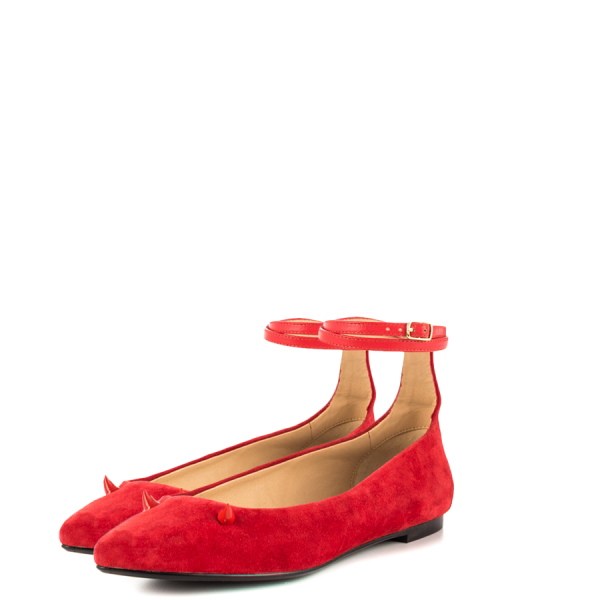 Red Suede Shoes Ankle Strap Little Demon Comfortable Flats image 1