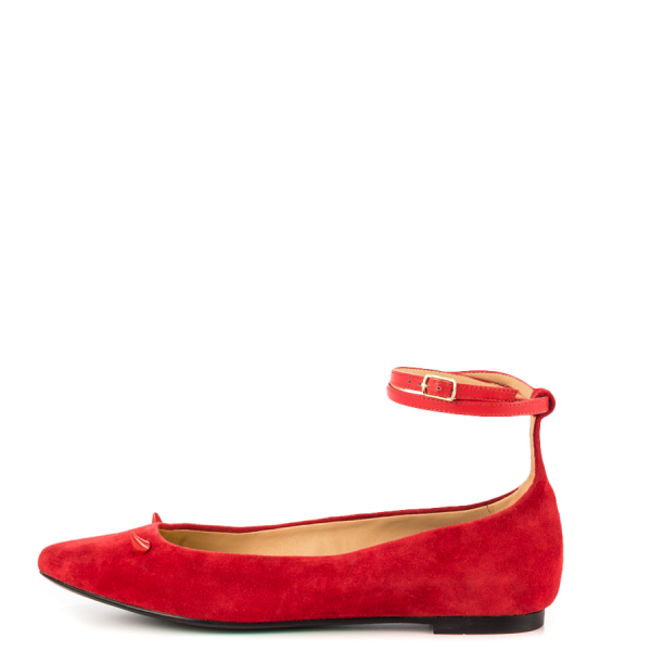 Red Suede Shoes Ankle Strap Little Demon Comfortable Flats image 5