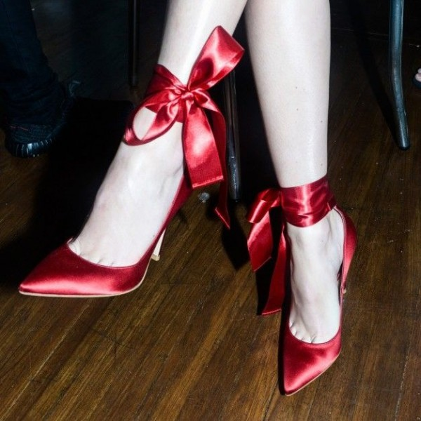 Women's Red Lace Up Satin Dress Shoes Stiletto Heels Pointed Toe Pumps image 1