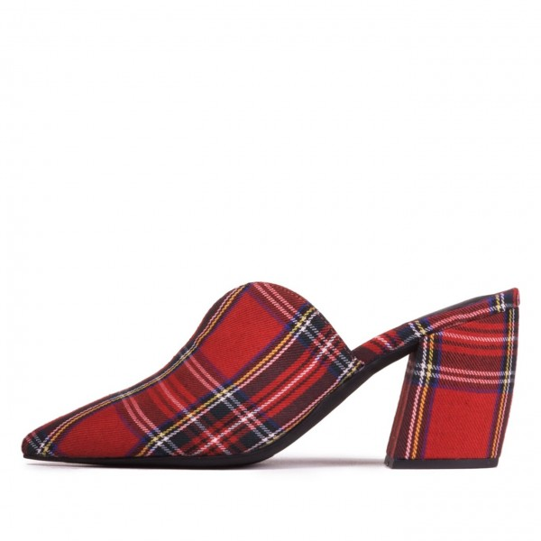 Women's Red Plaid Block Heel Mules Pumps image 1