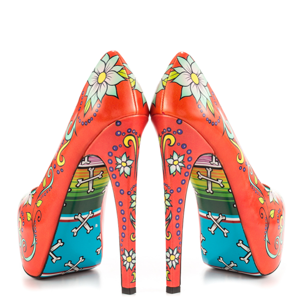 Women's Funny Red Platform Floral Heels Almond Toe Cone Heels Pumps image 3