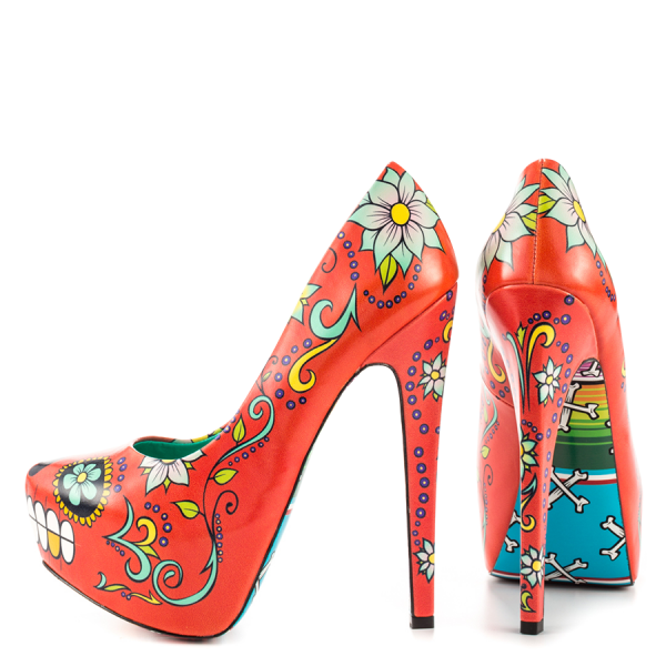 Women's Funny Red Platform Floral Heels Almond Toe Cone Heels Pumps image 4