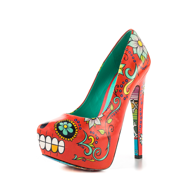 Women's Funny Red Platform Floral Heels Almond Toe Cone Heels Pumps image 5
