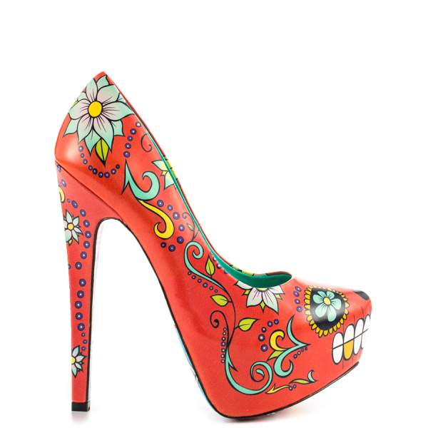 Women's Funny Red Platform Floral Heels Almond Toe Cone Heels Pumps image 6