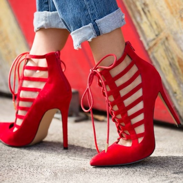 Women's Red Pointy Toe Stiletto Heels Strappy Heels Lace Up Pumps image 1
