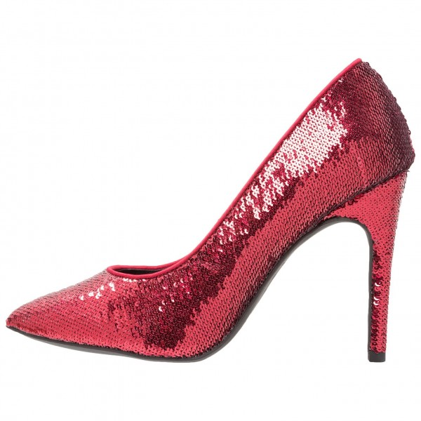 Burgundy Sequined Stiletto Heels Open Toe Office Shoes image 2