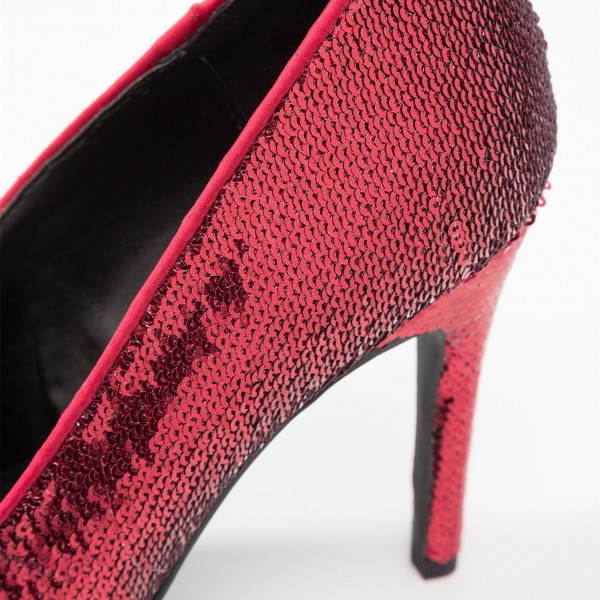 Burgundy Sequined Stiletto Heels Open Toe Office Shoes image 3
