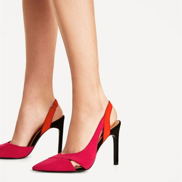 Red Stiletto Heels Pointy Toe Slingback Pumps Office Shoes image 2