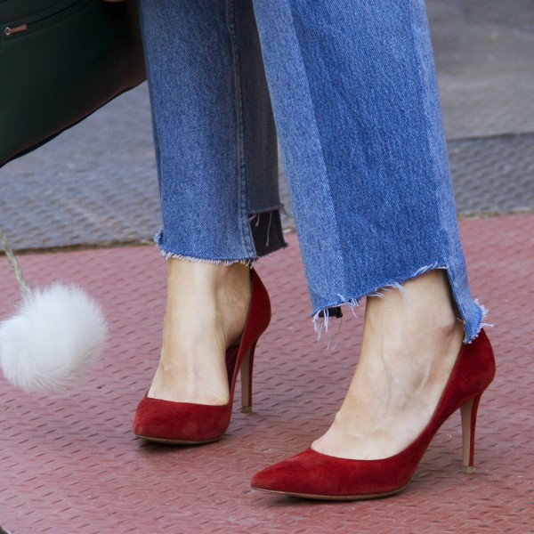 Women's Red Suede Kitten Office Heels Pointed Toe Pumps image 1