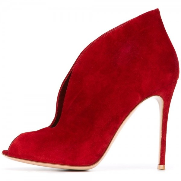 Red Peep Toe Summer Boots Stiletto Heels Ankle Boots image 3