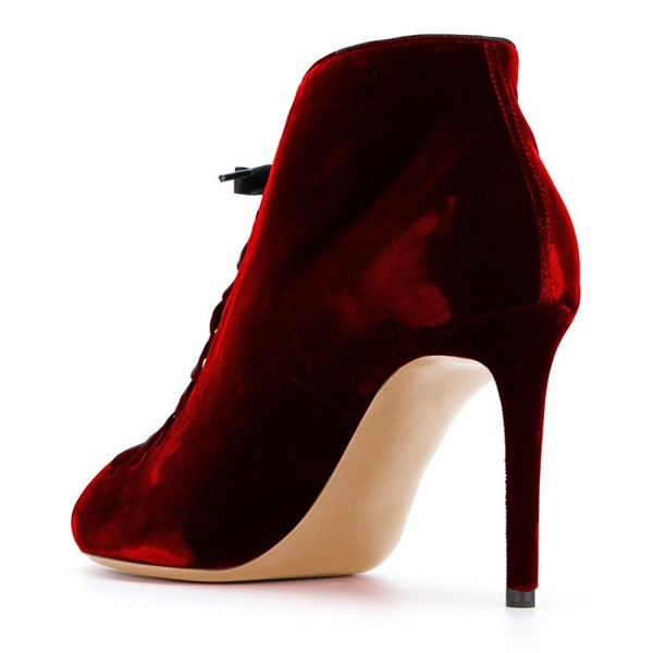 Women's Red Vintage Boots Soft Suede Lace Up Peep Toe Stiletto Heels image 4