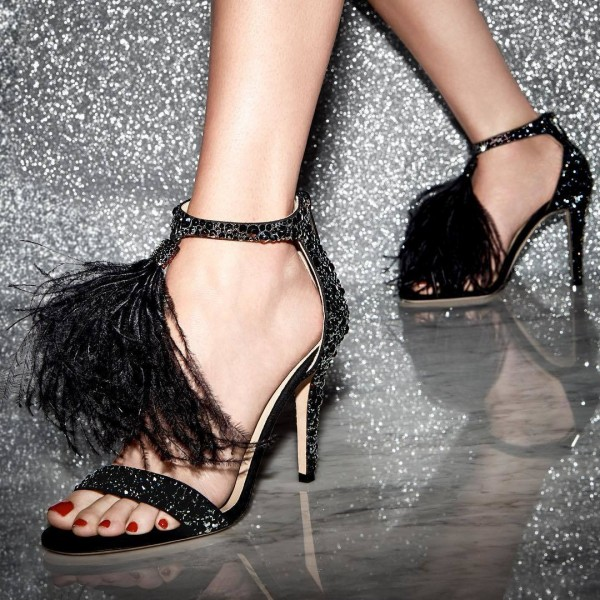 Women's Rhinestone Heels Open Toe Feather Party Dress Shoes  image 1