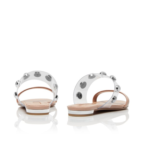 Nude Women's Slide Sandals Open Toe Rhinestone Summer Slides Shoes image 2