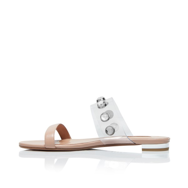 Nude Women's Slide Sandals Open Toe Rhinestone Summer Slides Shoes image 5