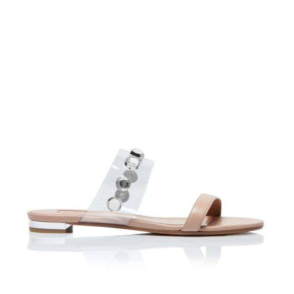 Nude Women's Slide Sandals Open Toe Rhinestone Summer Slides Shoes image 6