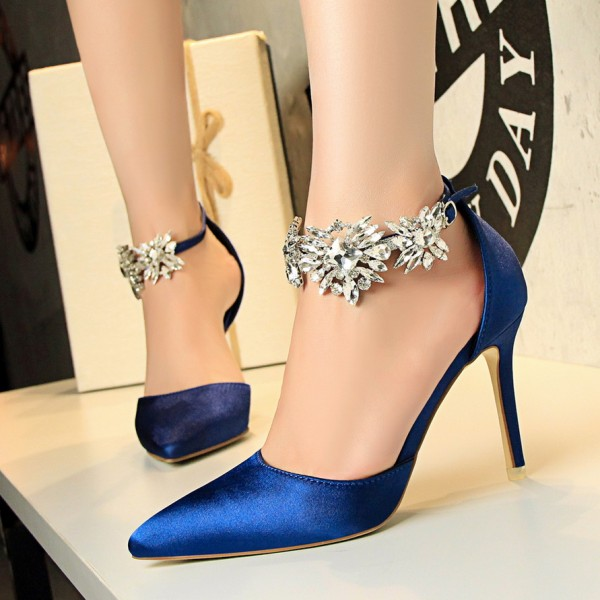 Royal Blue Evening Shoes Pointy Toe Stilettos Ankle Strap Pumps image 2