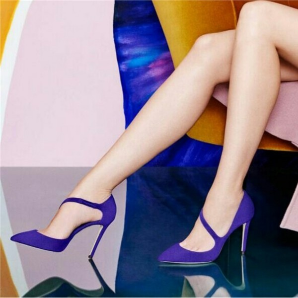 Women's Royal Blue Dress Shoes Pointy Toe Stiletto Heels Pumps by FSJ image 1