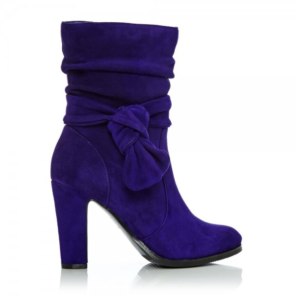 Purple Fashion Boots Suede Chunky Heel Mid Calf Boots image 2