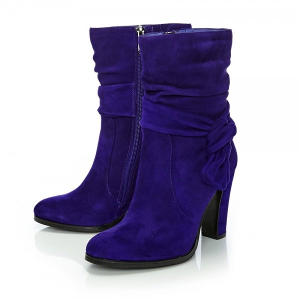 Purple Fashion Boots Suede Chunky Heel Mid Calf Boots image 1