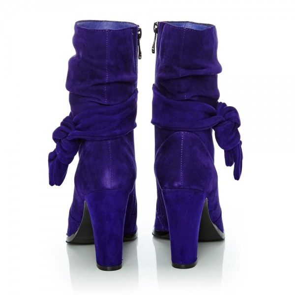Purple Fashion Boots Suede Chunky Heel Mid Calf Boots image 4