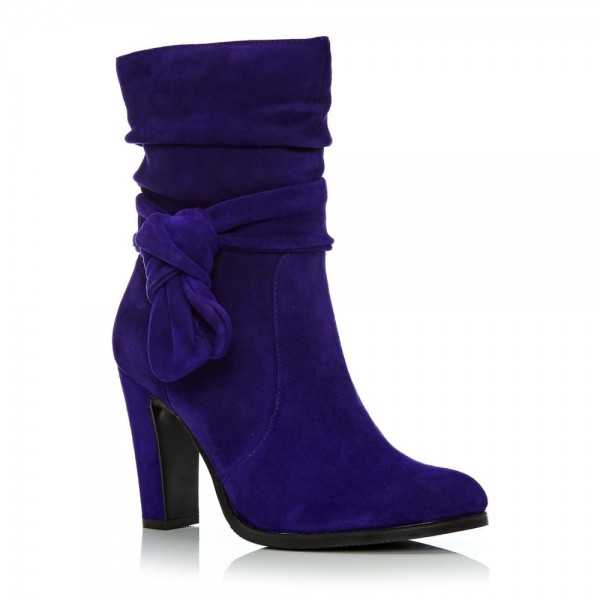 Purple Fashion Boots Suede Chunky Heel Mid Calf Boots image 5