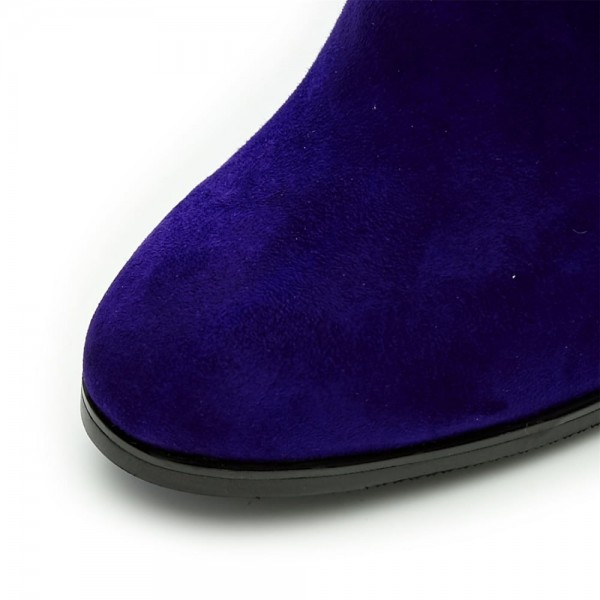 Purple Fashion Boots Suede Chunky Heel Mid Calf Boots image 6