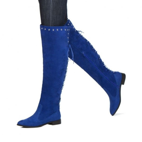 Women's Royal Blue Heels Back Lace-up Flat Knee-high Boots by FSJ image 1