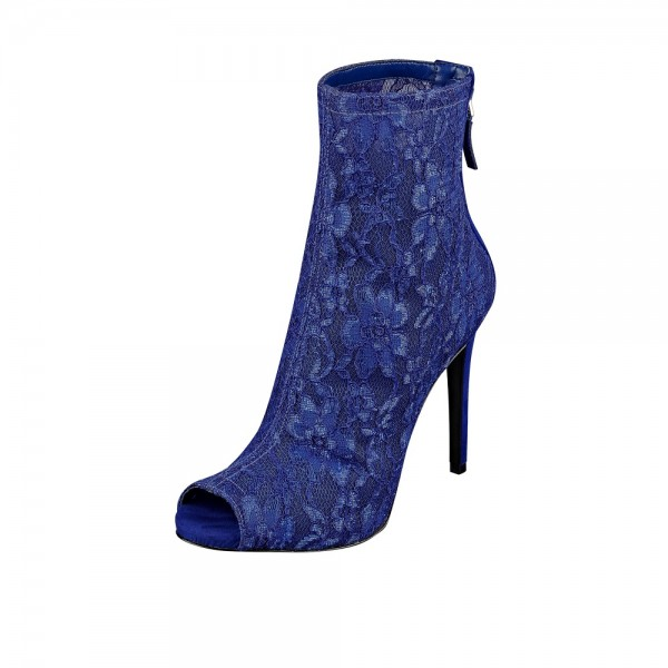 Women's Royal Blue Heels Lace  Peep Toe Stiletto Heels Fashion Boots image 1