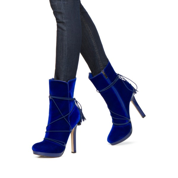 c24e65edd7b ... Royal Blue Velvet Boots Closed Toe Platform Strappy Ankle Boots image 2  ...