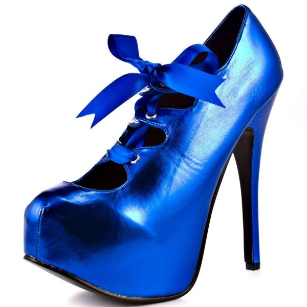 Women's Royal Blue Platform Heels Lace up Stiletto Heels Dress Shoes image 1