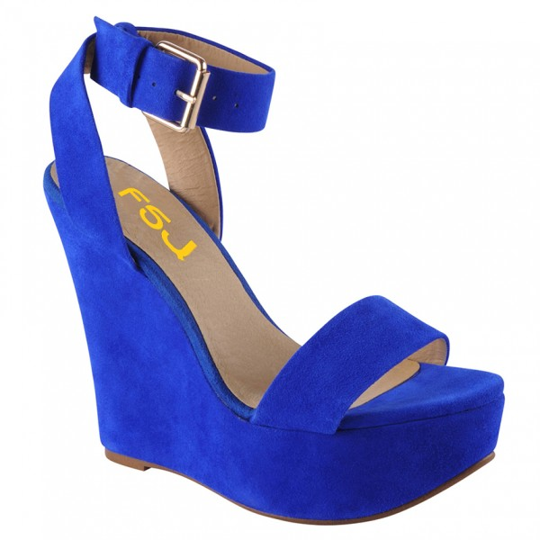 Women's Royal Blue Platform Ankle Strap Slingback Wedge Sandals image 2