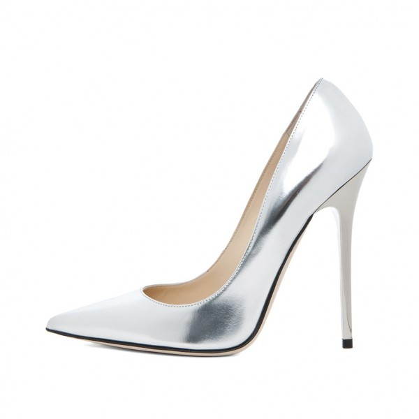 b5b0e663317 ... Silver Metallic Heels Pointy Toe Stiletto Heel Pumps for Office Lady  image 2 ...