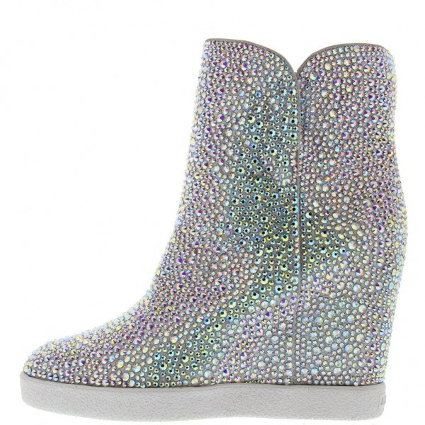 Silver Wedge Booties Rhinestone Hotfix Round Toe Short Ankle Boots image 1